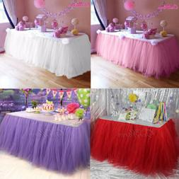 1/4x Wedding TUTU Tulle Table Skirt Table Cloth Cover Kids B