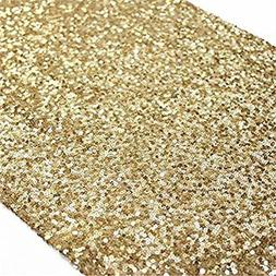 TRLYC 12 By 108-Inch Elegant Rectangle Gold Sequin Wedding T