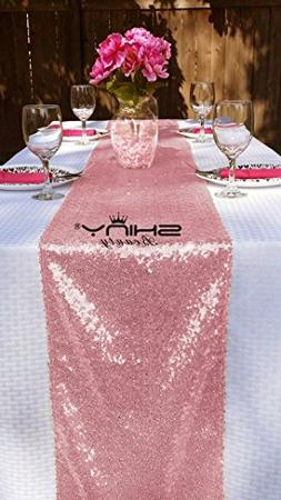12''*72'' Fushia Pink Sequin Table Runner Sparkly Metallic S