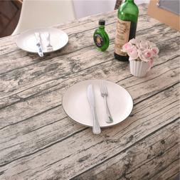 12 Size Vintage Wood Bark Cotton Linen Tablecloth Dining Tab