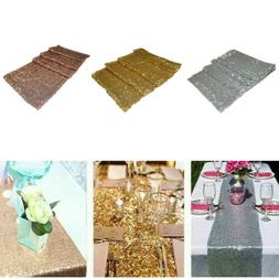 """12"""" x 72"""" Sequin Tablecloth Table Runner Wedding Party Banqu"""