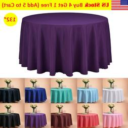 """VEEYOO 132"""" Round Tablecloth Linen Table Cover for Buffet Pa"""