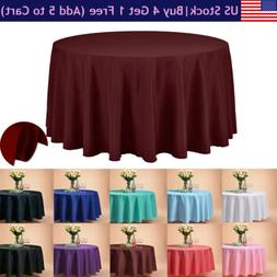 """VEEYOO 108"""" Round Tablecloth Polyester Table Cover For Party"""