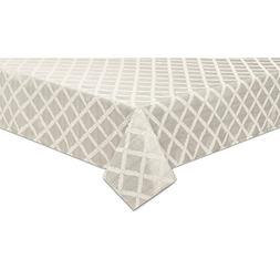144 Laurel Leaf Table Cloth in Platinum