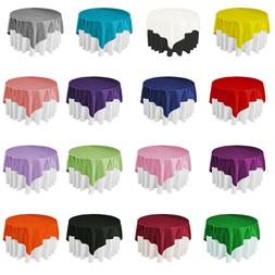 5 Size Square Satin Tablecloth Overlay Fabric Wedding Table