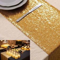 """14""""x120"""" Sequin Table Runner Sparkly Gold Table Cloth for We"""