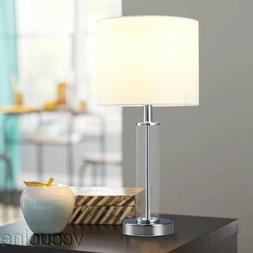 18 inch Clear Glass Base Table Lamp White Fabric Lampshade N