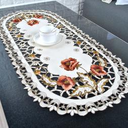 1x Embroidery Flower Rose Lace Tablecloth Wedding Dining Par