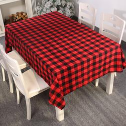 213*153cm New Year Red And Black Plaid <font><b>Tablecloth</