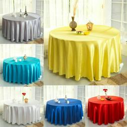 228cm Round Table Cloth Banquet Satin Table Cover Polyester