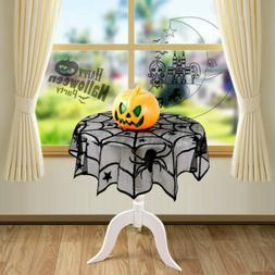 """2x 40"""" Halloween Party Home Black Lace Spider Web Table Clot"""