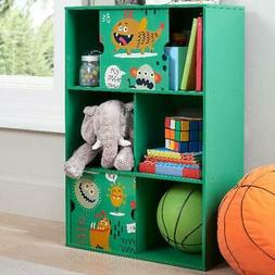3-Tier Green Finish Bookcase W/ 2-Sliding Doors Home Playroo