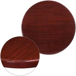 Flash Furniture 30'' Round High-Gloss Mahogany Resin Table T