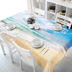 3D Sky Beach Tablecloth Waterproof Table Cloth Cover Party H