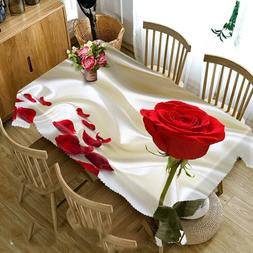 3D Tablecloth White Magnolia Flower Pattern Dustproof Dining