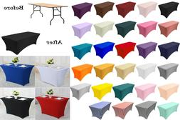 4/6 FT Chair Covers Stretch Spandex Table Covers Fitted Rect