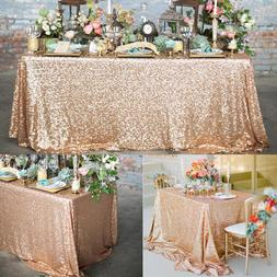 4 Sizes Glitter Sequin Rectangular Tablecloth Rose Gold Sequ