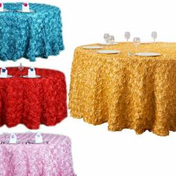 47/120'' 3D Rosette Satin Fabric Tablecloth Round Wedding Ta