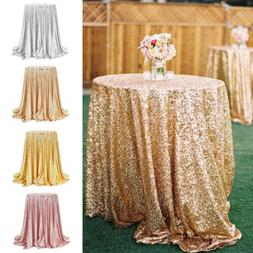 "48"" Round Sequin Tablecloth Sparkly Table Cloth Overlay Wedd"