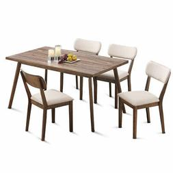 5 Pcs Home Kitchen Dining Table Set Wood Desk &4 Fabric Upho
