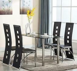 5 Piece Tempered Glass Dining Table and Chairs Set Kitchen F