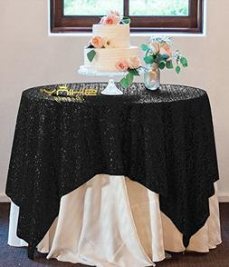 50''x50'' Square Black Sequin Tablecloth Select Your Color &