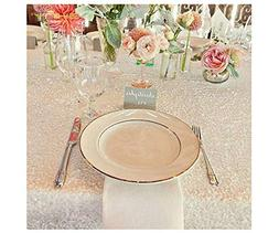 50''x50'' Square White Sequin Tablecloth Select Your Color &
