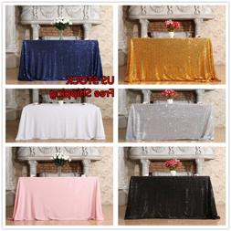 "50""x80"" Sequin Tablecloth and Rectangle Sequin Tablecloth We"
