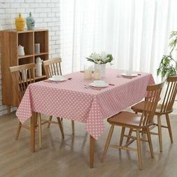 """54""""x 72"""" Pink Love Rectangle Cotton and Linen Tablecloth Dec"""