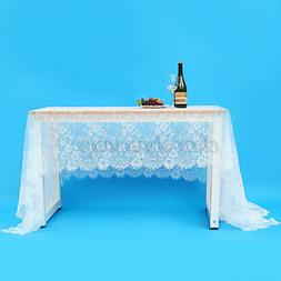 """59x118"""" Rectangle White Lace Tablecloth Home Wedding Party T"""