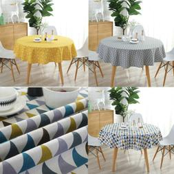 """60"""" Inch Round Colorful Table Cloth Cotton Linen Home Kitche"""