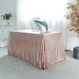 """60""""x102"""" Rose Gold Sequin Tablecloth Shimmer Wedding Party T"""