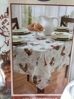 """Benson Mills 60""""x104"""" Oblong TEXTURED Poly ROOSTER Tableclot"""