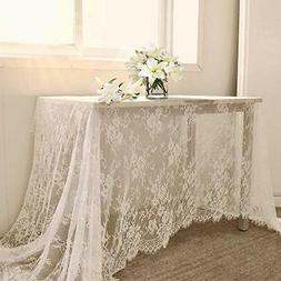 QueenDream 60 X120 Inch Lace Tablecloth - White Wedding Lace