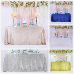60''x126'' Sequin Glitter Tablecloth Rectangle Table Cloth C
