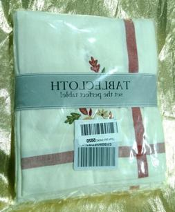 """DII 60x104"""" Rectangular Cotton Tablecloth Cream with Embroid"""