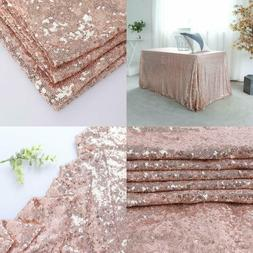 60X120 Rose Gold Sequin Tablecloth Christmas Sarkly Table Co