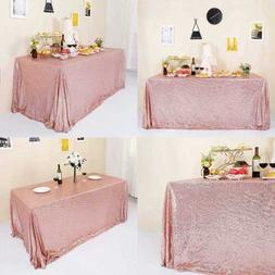 """60X120"""" ROSE GOLD Sequin Tablecloth Christmas Sarkly Table C"""