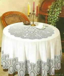 "70"" Round Old Fashioned Vintage Pattern Crotchet Lace Vinyl"
