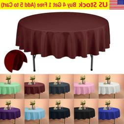 """VEEYOO 70"""" Round Tablecloth Linen Table Cover for Weddings P"""