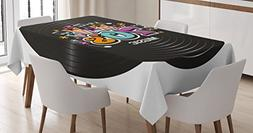 Ambesonne 70s Party Decorations Tablecloth, Music Theme Colo