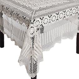 SARO LIFESTYLE 869 Crochet Tablecloths, 72 by 144-Inch, Oblo