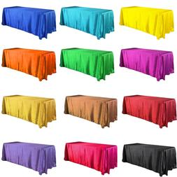 90x132 satin tablecloth rectangle wedding table cover