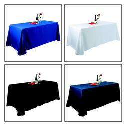 E-TEX 90x132Inch Oblong Polyester Tablecloth for 6 Foot Rect
