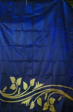 AMBESONNE TABLECLOTH HOUSE DECOR LEAF SCROLL NAVY BLUE GOLD