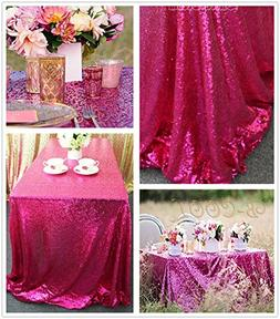 B-COOL 50''80'' Rectangle Fuchsia Sequin Tablecloth For Wedd