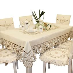Brown flower embroidered lace cream tablecloth rectangular 5