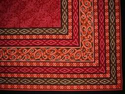"""Calico Print Cotton Tablecloth 90"""" x 60"""" Red"""