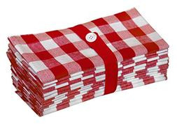 Cotton Craft 12 Pack Gingham Checks Oversized Dinner Napkins
