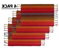 Cotton Craft - 4 Pack Salsa Stripe Hand Knotted Fringe Place